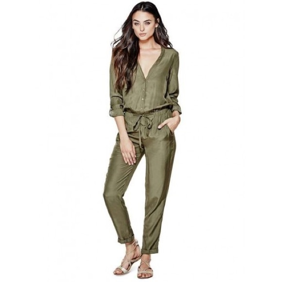 ad6dacaef79 Guess Pants - GUESS Quinn Olive Utility Jumpsuit size XS